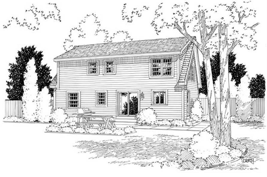 Home Plan Rear Elevation of this 4-Bedroom,1757 Sq Ft Plan -131-1143