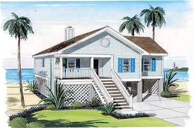3-Bedroom, 1297 Sq Ft Coastal House Plan - 131-1156 - Front Exterior