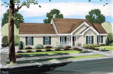 3-Bedroom, 1400 Sq Ft Country House Plan - 131-1157 - Front Exterior