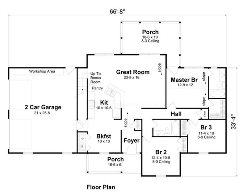 house plan GAR-74007 first floor