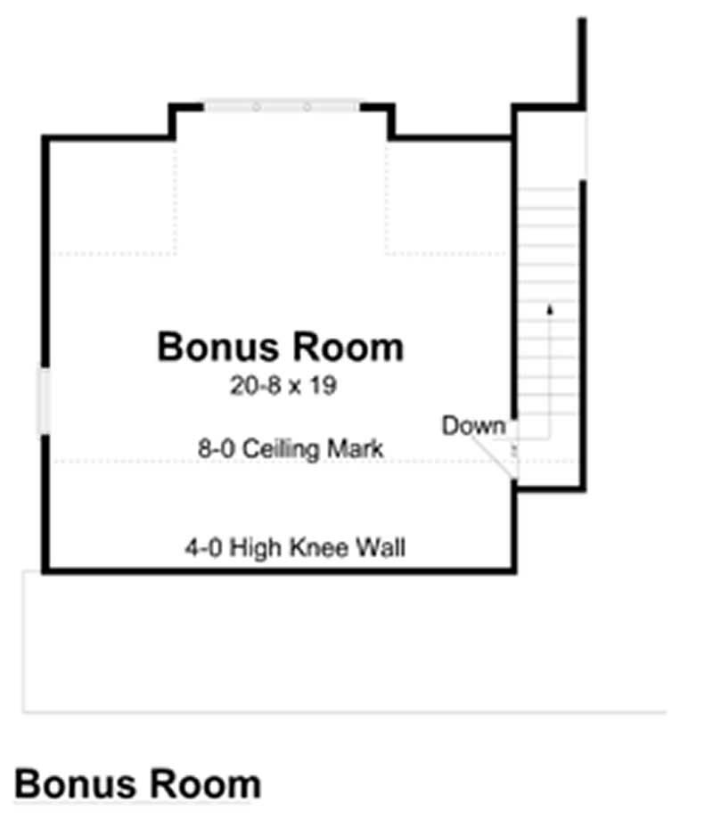 house plan GAR-74007 bonus room