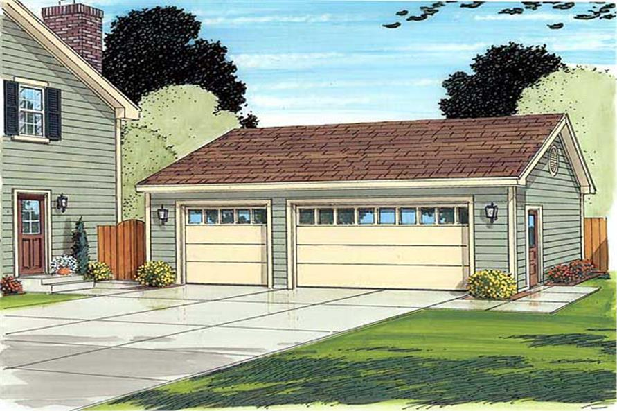 This is an artist's rendering for this garage plan.