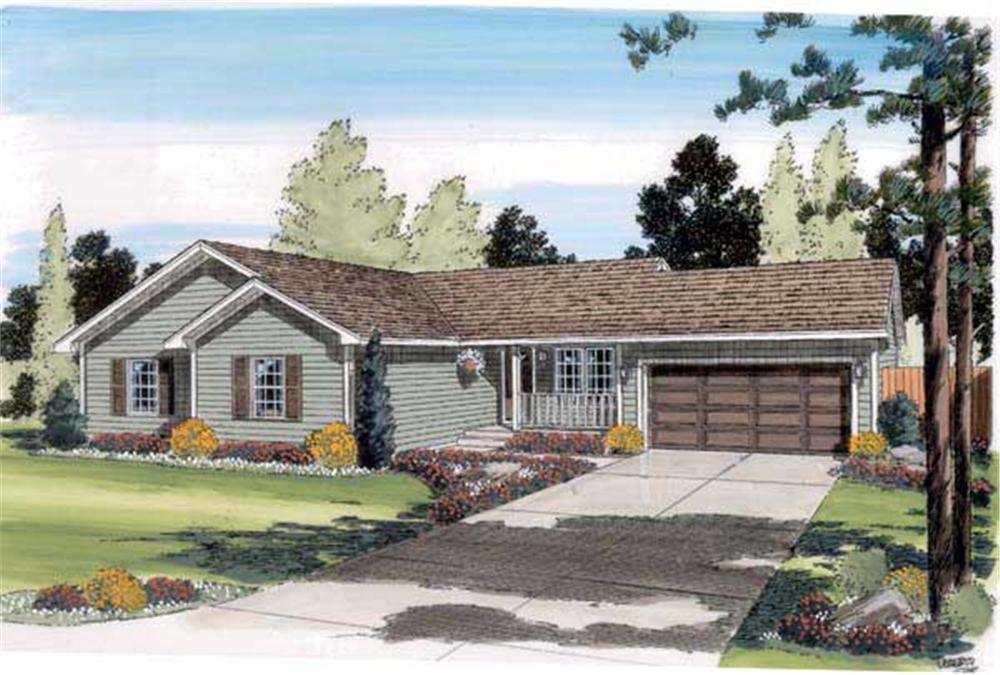 This is a very colorful rendering of these Ranch Home Plans.