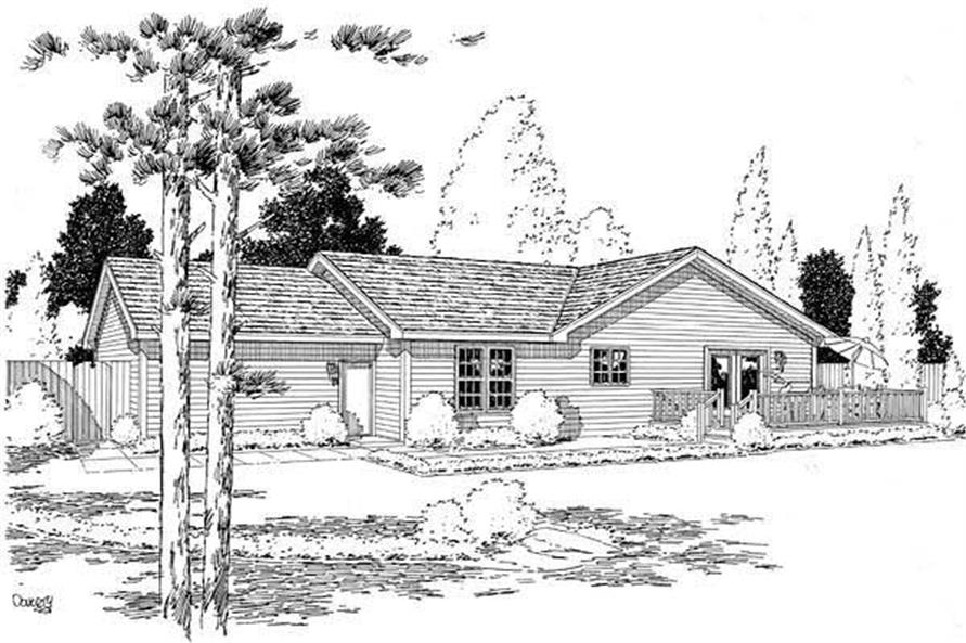 Home Plan Rear Elevation of this 3-Bedroom,1484 Sq Ft Plan -131-1168