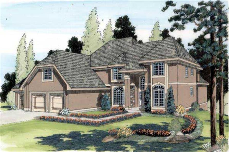 3-Bedroom, 3659 Sq Ft European Home Plan - 131-1170 - Main Exterior