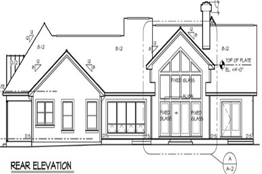 Home Plan Rear Elevation of this 3-Bedroom,2407 Sq Ft Plan -131-1174