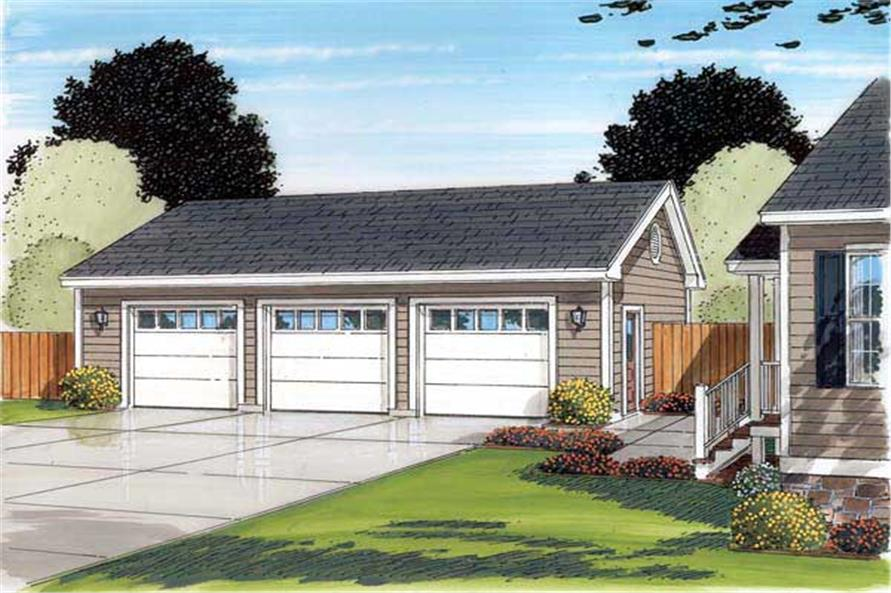 Garage plans home design 30002 for Ranch style house with garage