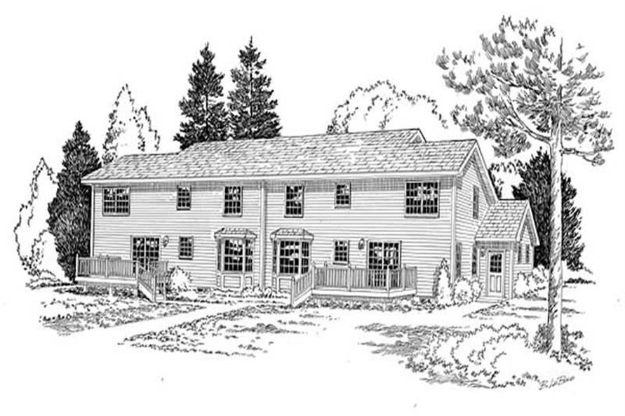 Home Plan Rear Elevation of this 3-Bedroom,3288 Sq Ft Plan -131-1178