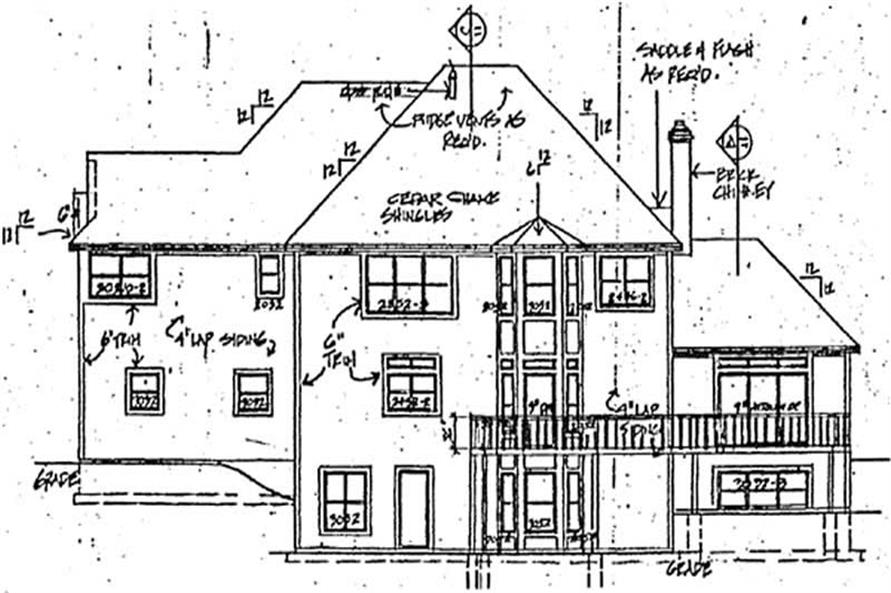 Home Plan Rear Elevation of this 4-Bedroom,4217 Sq Ft Plan -131-1184