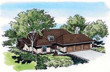 4-Bedroom, 3409 Sq Ft Mediterranean House Plan - 131-1189 - Front Exterior