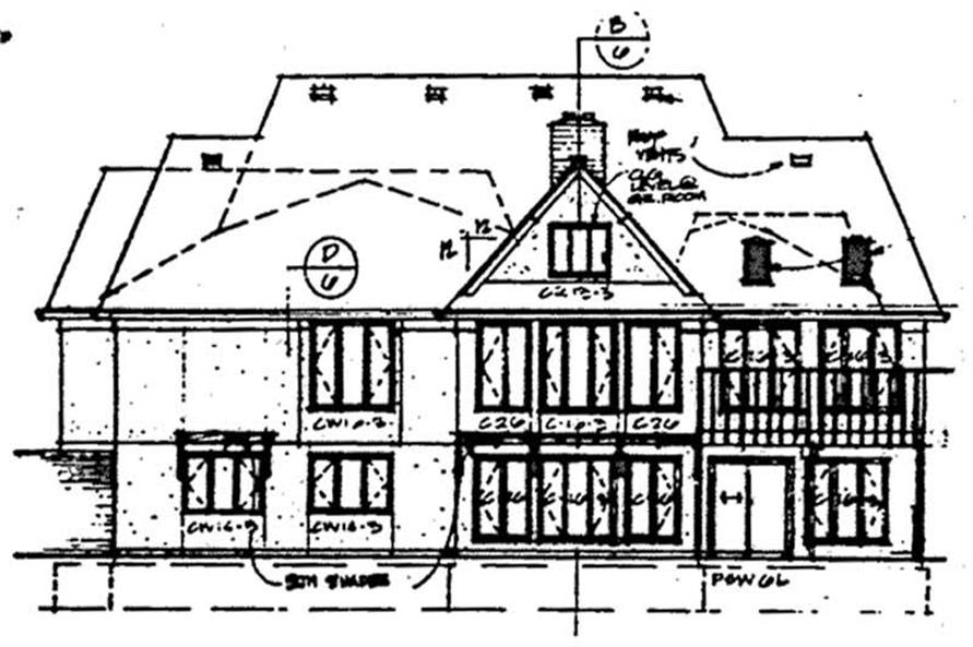 Home Plan Rear Elevation of this 4-Bedroom,3409 Sq Ft Plan -131-1189