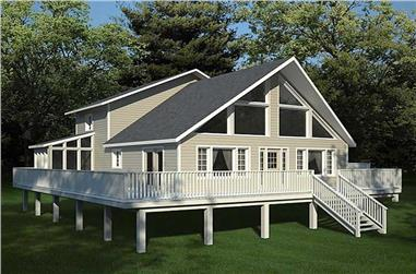 3-Bedroom, 2015 Sq Ft Vacation Homes House Plan - 131-1195 - Front Exterior