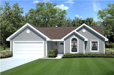 3-Bedroom, 1456 Sq Ft Ranch Home Plan - 131-1203 - Main Exterior