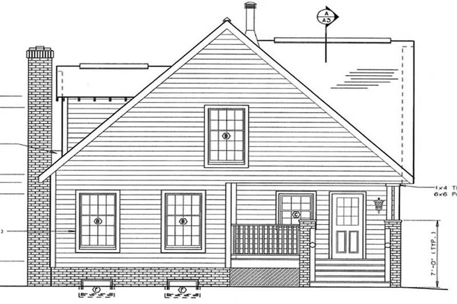 Home Plan Rear Elevation of this 4-Bedroom,1595 Sq Ft Plan -131-1208