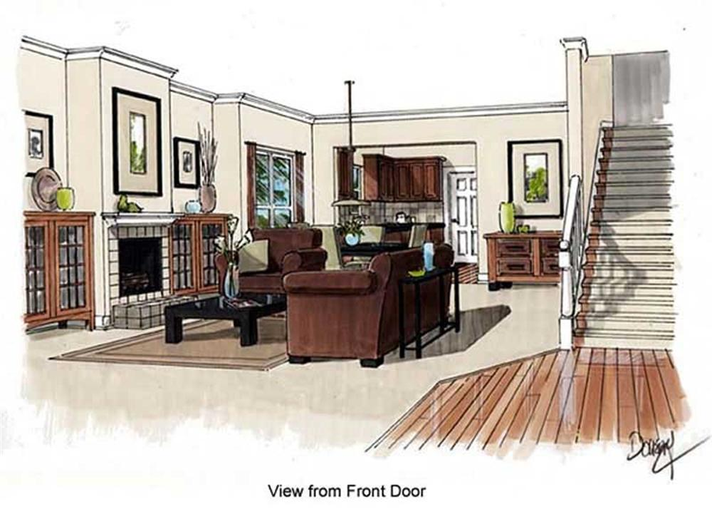 house plan GAR-74002 living room