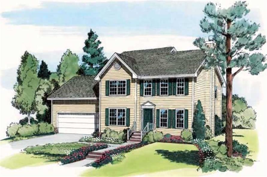 4-Bedroom, 1940 Sq Ft Colonial Home Plan - 131-1222 - Main Exterior