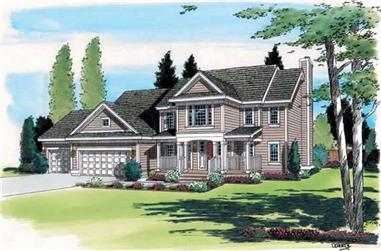 4-Bedroom, 2485 Sq Ft Country Home Plan - 131-1224 - Main Exterior