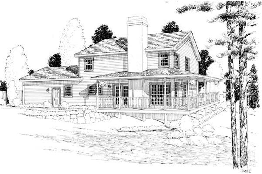 Home Plan Rear Elevation of this 3-Bedroom,2033 Sq Ft Plan -131-1226