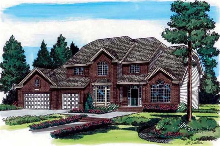 4-Bedroom, 2716 Sq Ft European Home Plan - 131-1232 - Main Exterior