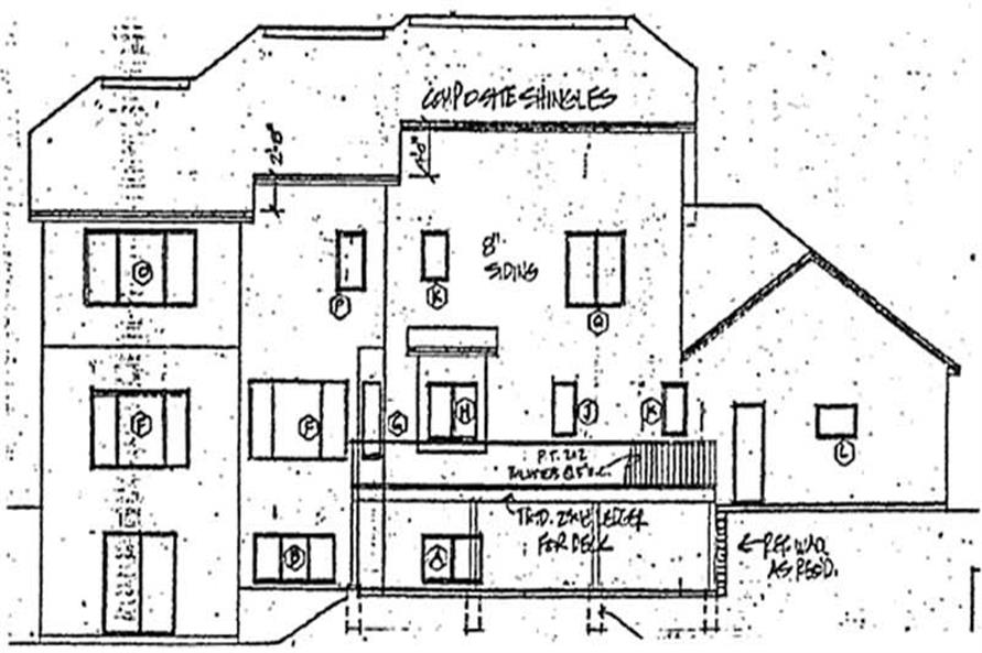 Home Plan Rear Elevation of this 4-Bedroom,2716 Sq Ft Plan -131-1232