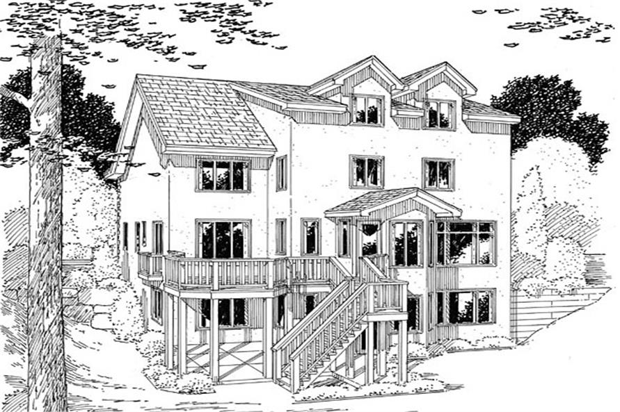 Home Plan Rear Elevation of this 4-Bedroom,2648 Sq Ft Plan -131-1233