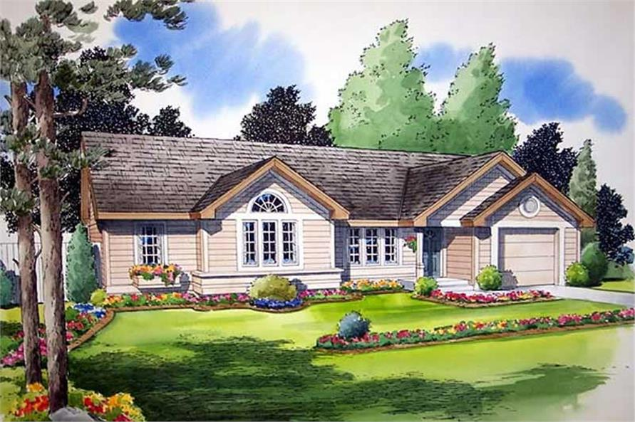 3-Bedroom, 988 Sq Ft Small House Plans - 131-1240 - Front Exterior