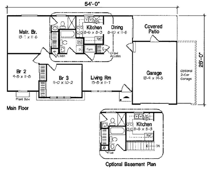 Small house plans house plan 3 bedrms 1 5 baths 988 for 32x32 house plans