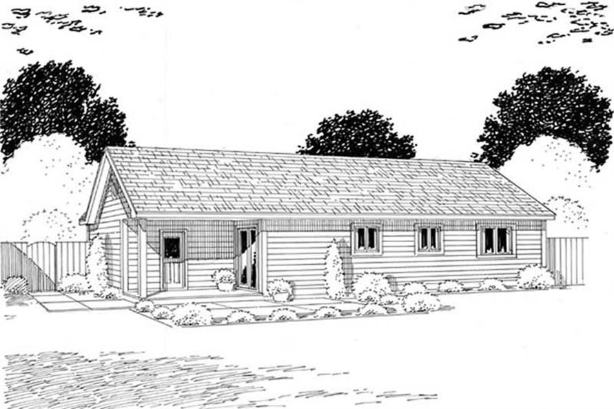 Home Plan Rear Elevation of this 3-Bedroom,988 Sq Ft Plan -131-1240