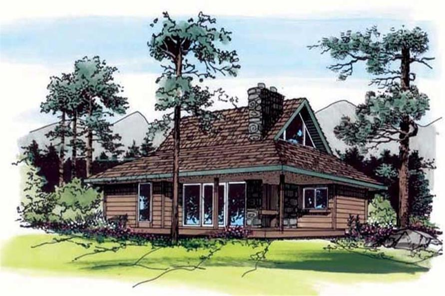 2-Bedroom, 897 Sq Ft Log Cabin House Plan - 131-1242 - Front Exterior