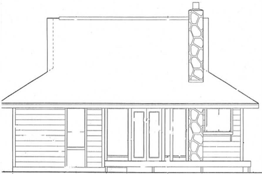 Home Plan Rear Elevation of this 2-Bedroom,897 Sq Ft Plan -131-1242