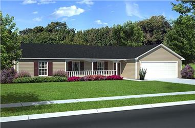 3-Bedroom, 1631 Sq Ft Country House Plan - 131-1244 - Front Exterior