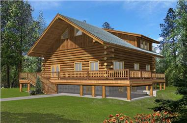 2-Bedroom, 3489 Sq Ft Log Cabin Home Plan - 132-1103 - Main Exterior