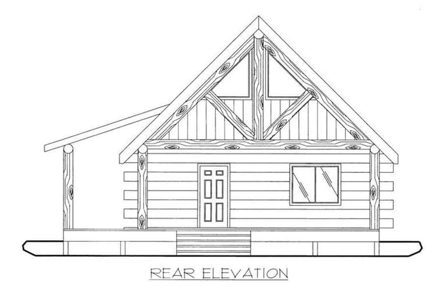 Home Plan Rear Elevation of this 1-Bedroom,689 Sq Ft Plan -132-1107