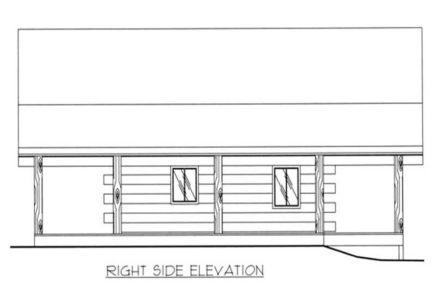 This image shows the right elevation of the home plan.