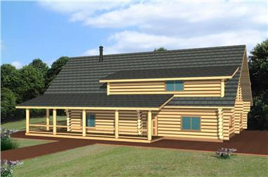 3-Bedroom, 2696 Sq Ft Log Cabin Home Plan - 132-1144 - Main Exterior