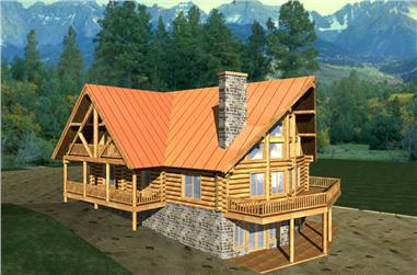 6-Bedroom, 3725 Sq Ft Log Cabin Home Plan - 132-1179 - Main Exterior