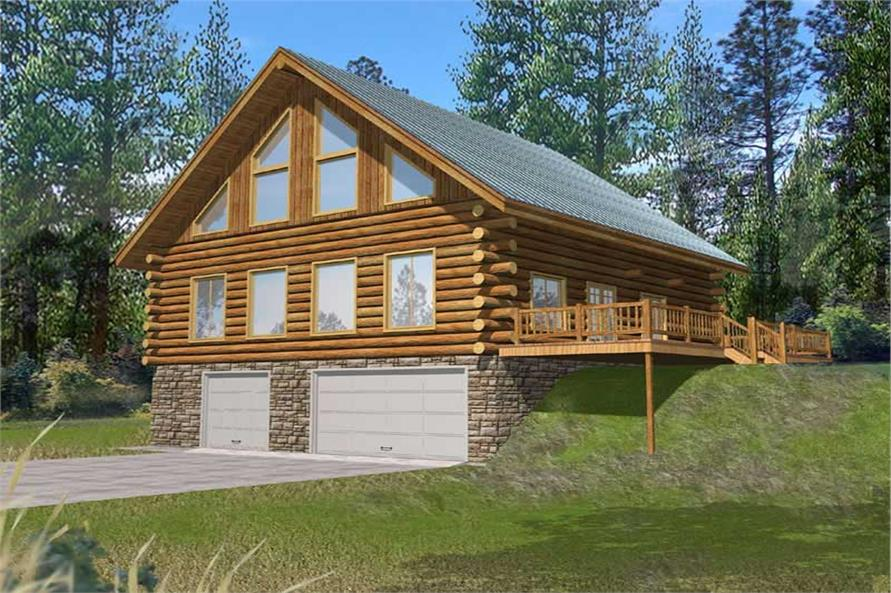 3-Bedroom, 2368 Sq Ft Log Cabin Home Plan - 132-1185 - Main Exterior