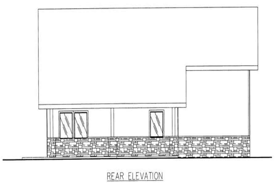 Home Plan Rear Elevation of this 2-Bedroom,2051 Sq Ft Plan -132-1186