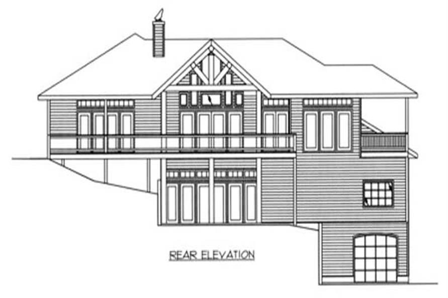 Home Plan Rear Elevation of this 4-Bedroom,3971 Sq Ft Plan -132-1187