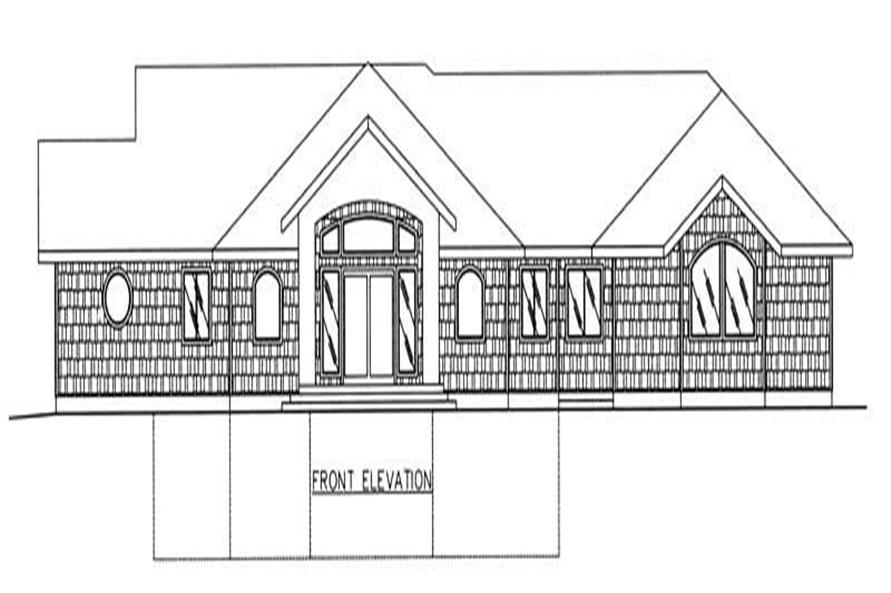 Home Plan Front Elevation of this 1-Bedroom,3577 Sq Ft Plan -132-1188