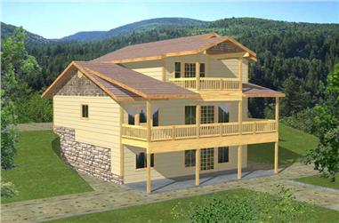 3-Bedroom, 2569 Sq Ft Log Cabin Home Plan - 132-1190 - Main Exterior