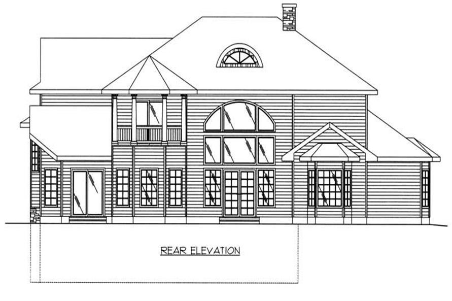 Home Plan Rear Elevation of this 6-Bedroom,3798 Sq Ft Plan -132-1191