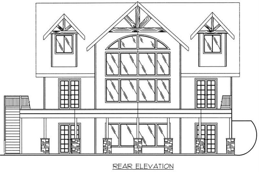 Home Plan Rear Elevation of this 3-Bedroom,2281 Sq Ft Plan -132-1193