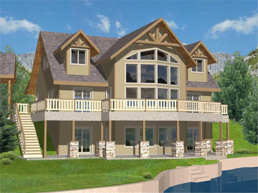 Front elevation of Craftsman home (ThePlanCollection: House Plan #132-1193)