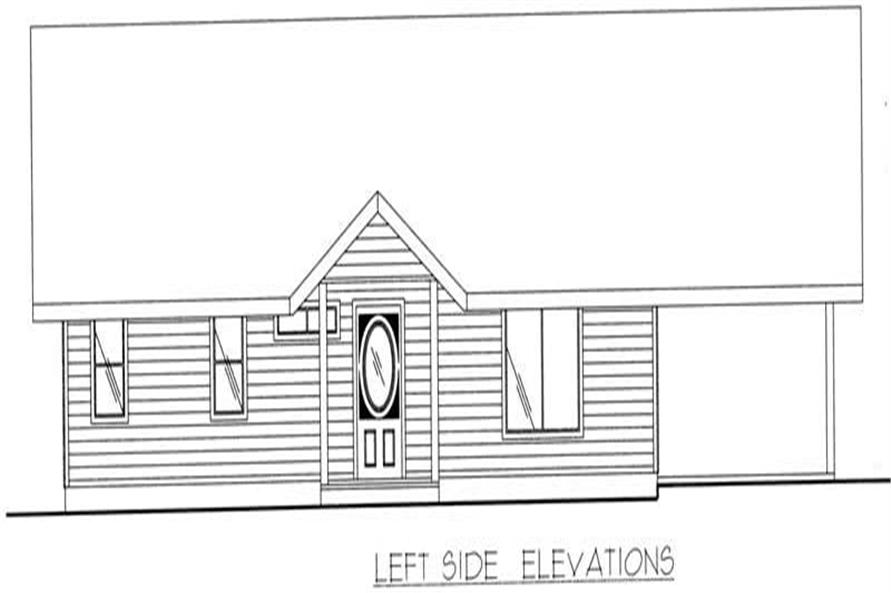Home Plan Left Elevation of this 1-Bedroom,1120 Sq Ft Plan -132-1197