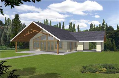 1-Bedroom, 1120 Sq Ft Vacation Homes House Plan - 132-1197 - Front Exterior