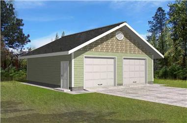 1-Bedroom, 676 Sq Ft Garage Home Plan - 132-1201 - Main Exterior