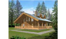 Log Houseplans front rendering.