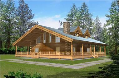Log Houseplans front rendering.