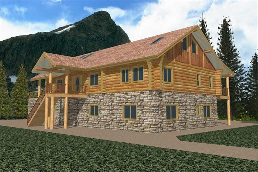 3-Bedroom, 3755 Sq Ft Log Cabin Home Plan - 132-1215 - Main Exterior